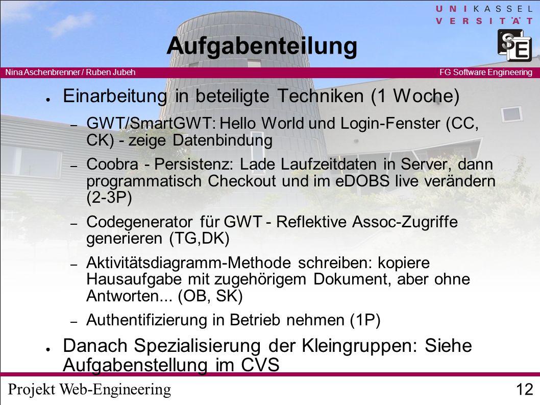 Aufgabenteilung Einarbeitung in beteiligte Techniken (1 Woche)