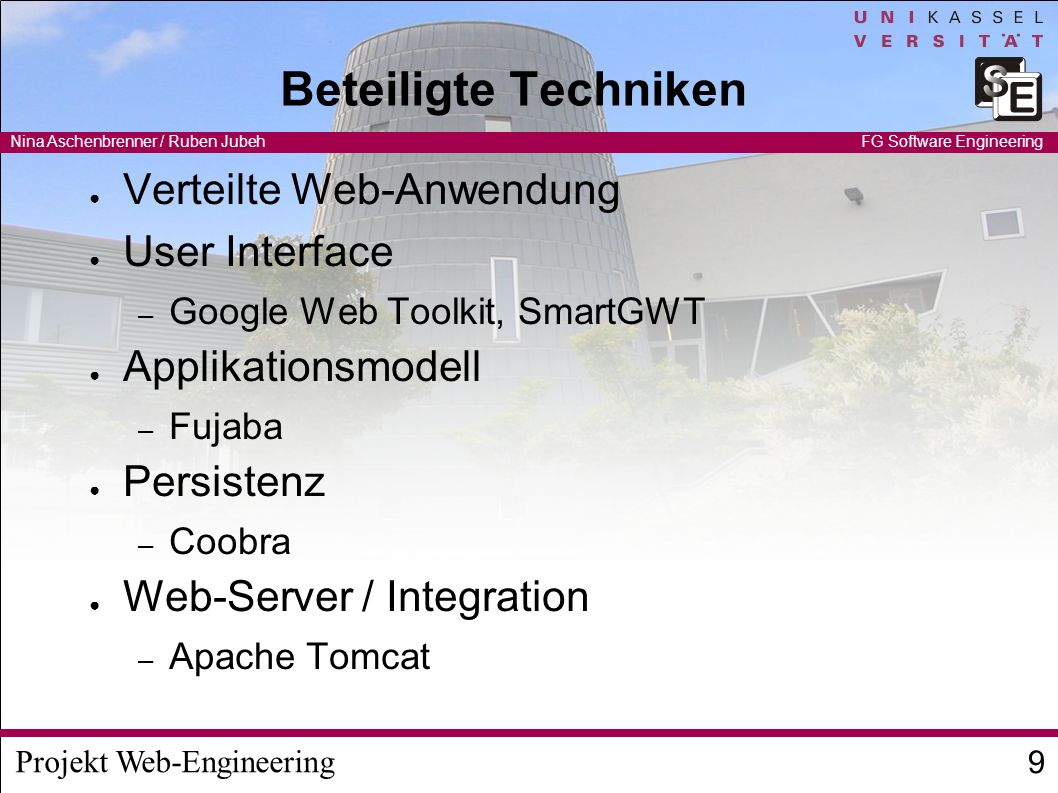Beteiligte Techniken Verteilte Web-Anwendung User Interface