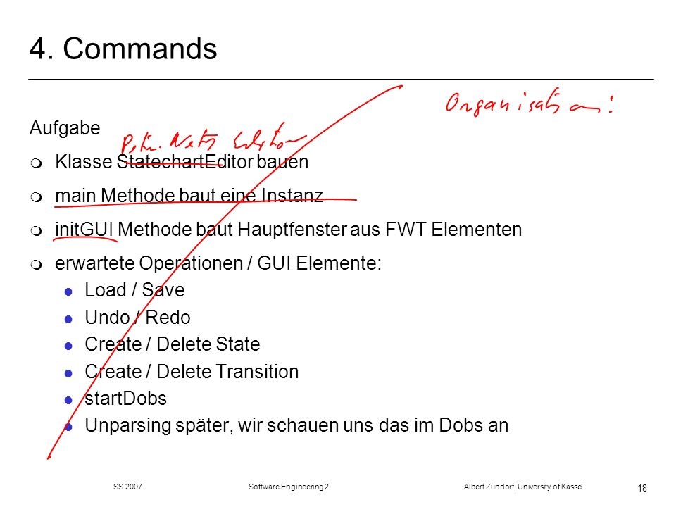 4. Commands Aufgabe Klasse StatechartEditor bauen