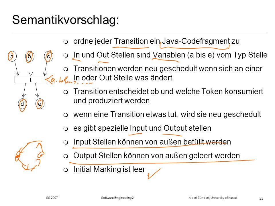 Semantikvorschlag: ordne jeder Transition ein Java-Codefragment zu