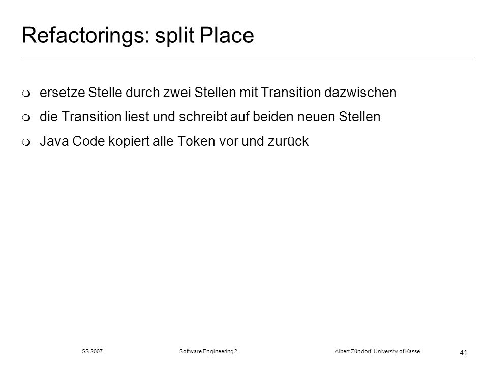 Refactorings: split Place