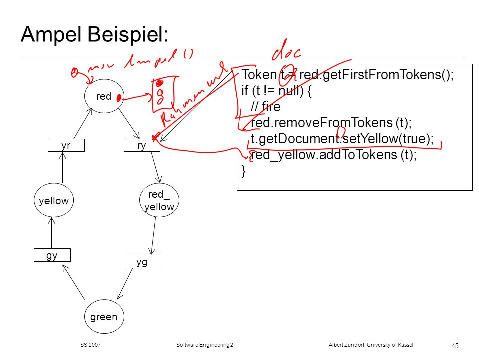 Ampel Beispiel:Token t = red.getFirstFromTokens(); if (t != null) { // fire red.removeFromTokens (t); t.getDocument.setYellow(true);