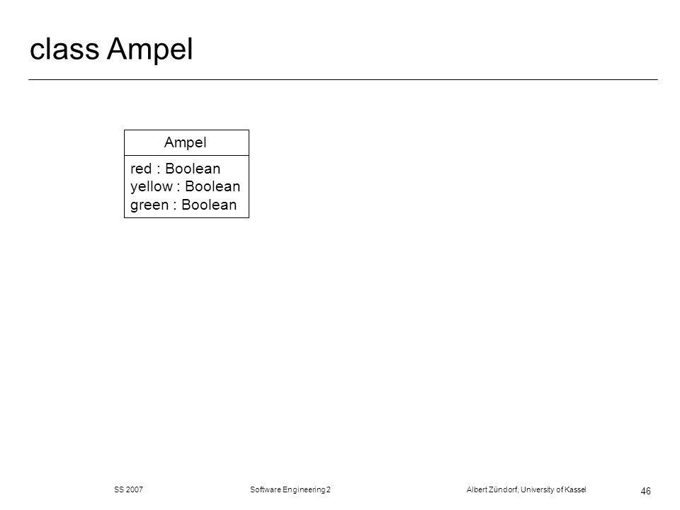 class Ampel Ampel red : Boolean yellow : Boolean green : Boolean