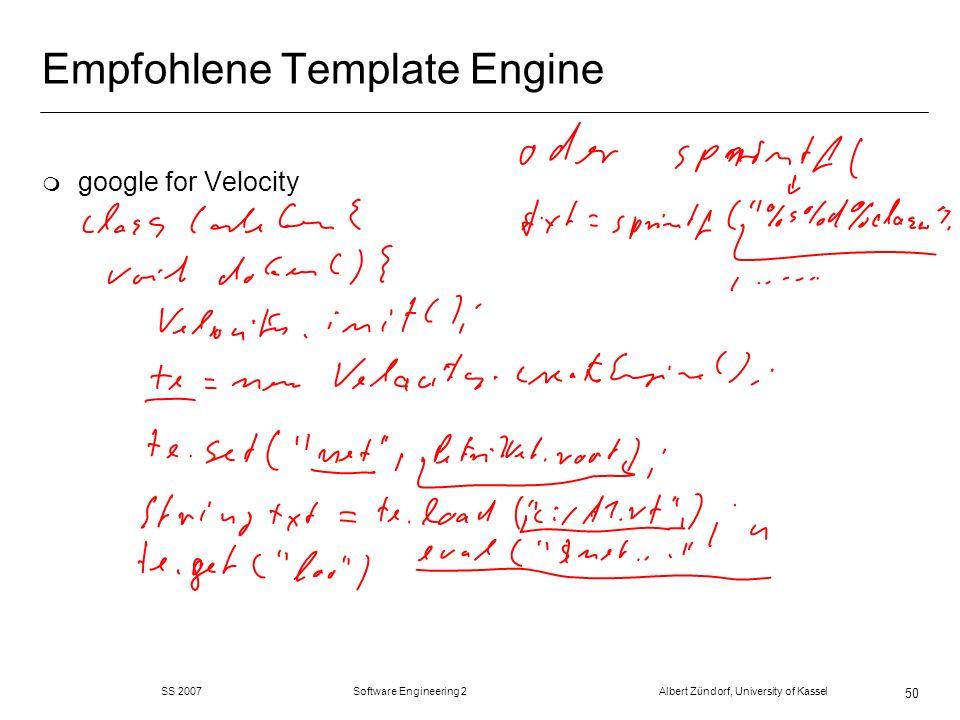 Empfohlene Template Engine