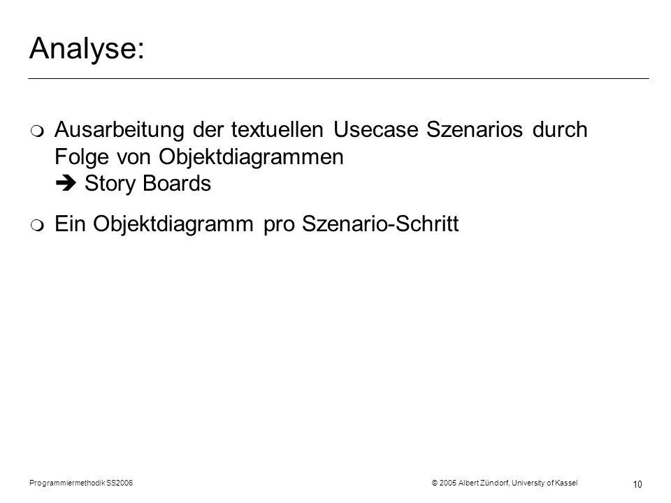 Analyse: Ausarbeitung der textuellen Usecase Szenarios durch Folge von Objektdiagrammen  Story Boards.