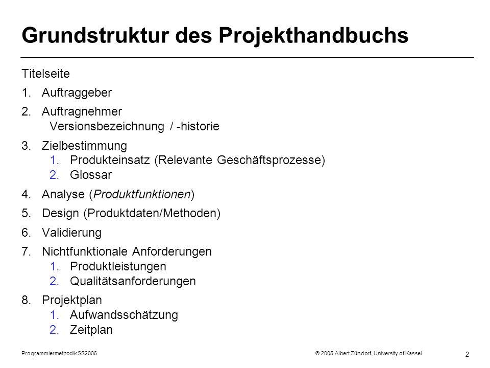 Grundstruktur des Projekthandbuchs