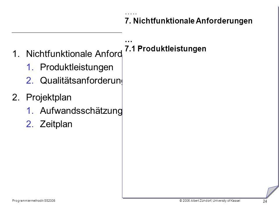 Nichtfunktionale Anforderungen Produktleistungen