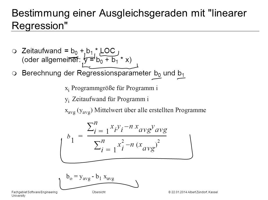 Bestimmung einer Ausgleichsgeraden mit linearer Regression