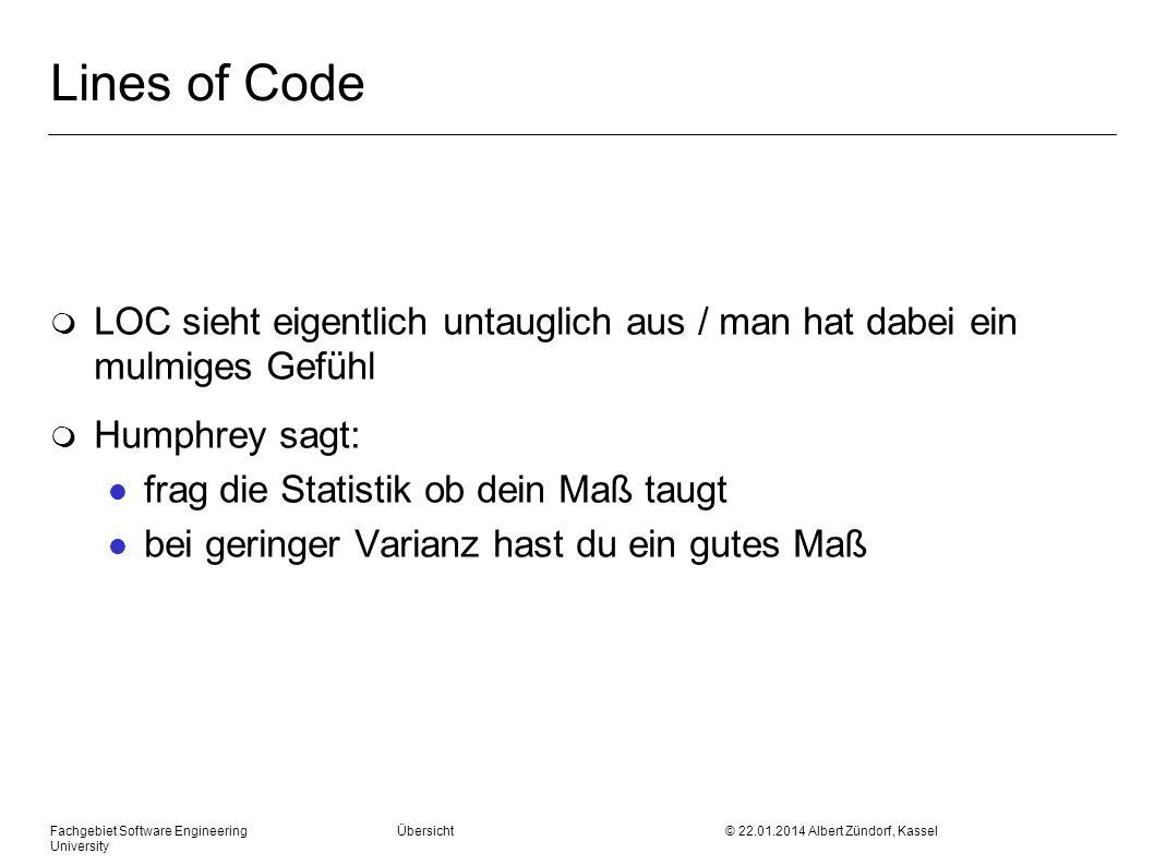 Lines of Code LOC sieht eigentlich untauglich aus / man hat dabei ein mulmiges Gefühl. Humphrey sagt: