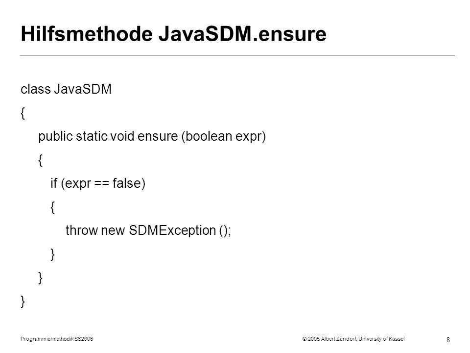 Hilfsmethode JavaSDM.ensure