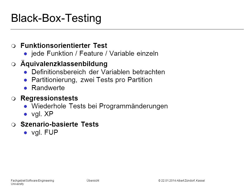 Black-Box-Testing Funktionsorientierter Test