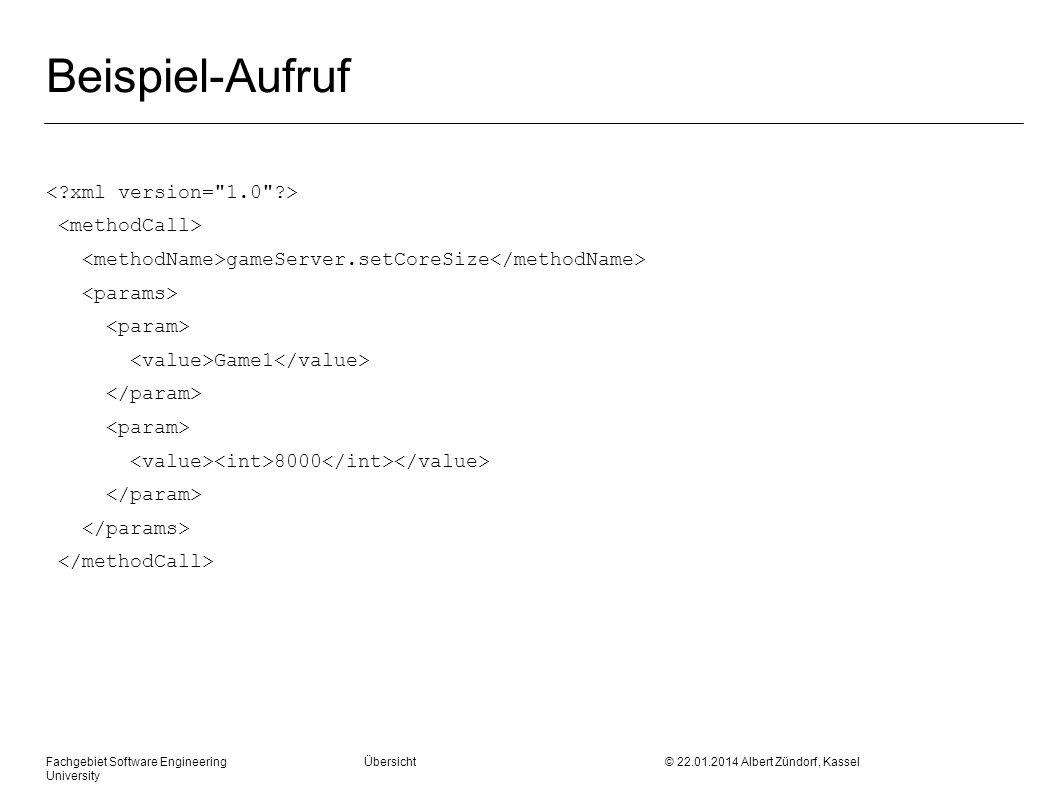 Beispiel-Aufruf < xml version= 1.0 > <methodCall>