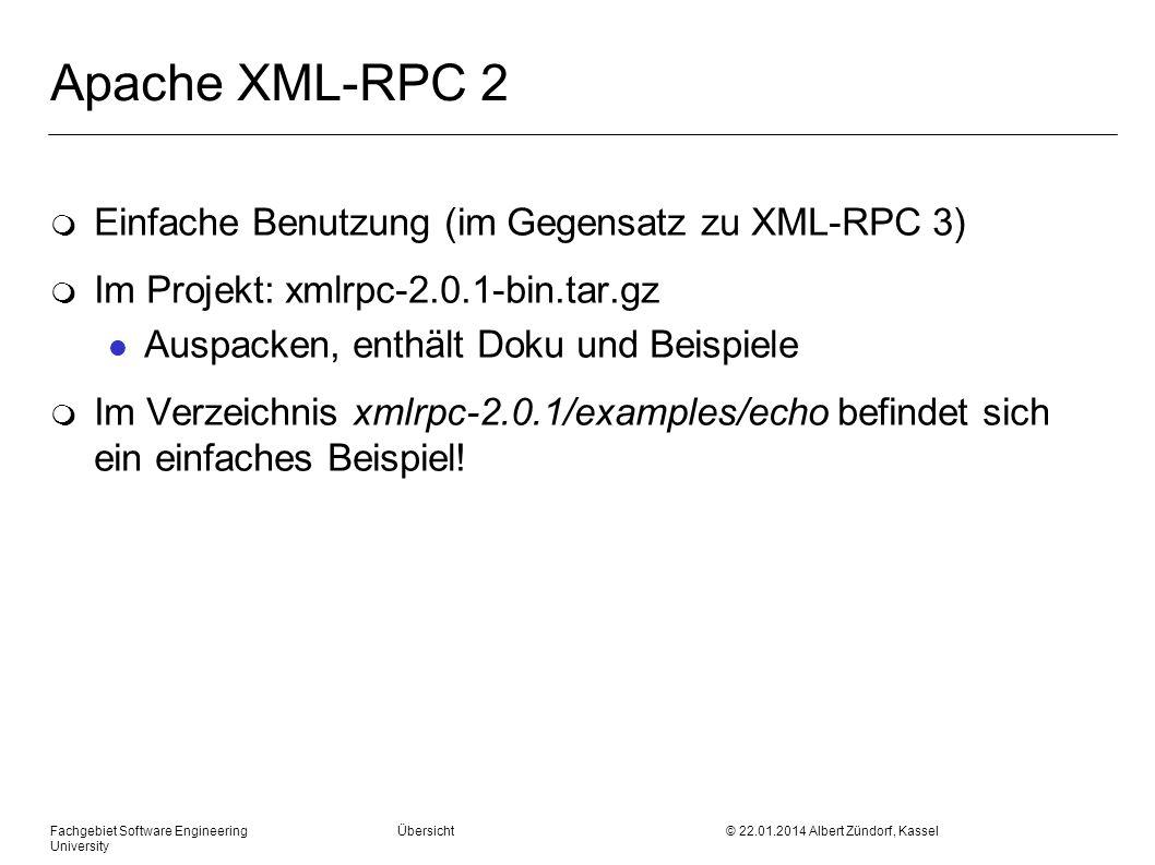 Apache XML-RPC 2 Einfache Benutzung (im Gegensatz zu XML-RPC 3)
