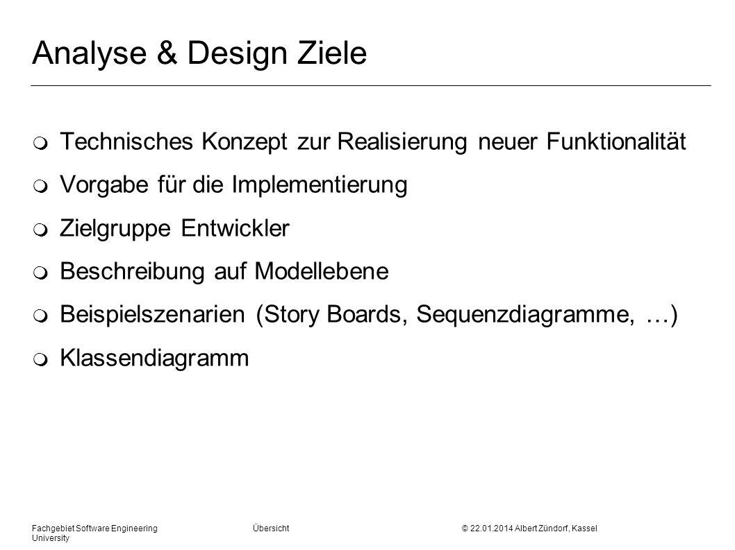 Analyse & Design Ziele Technisches Konzept zur Realisierung neuer Funktionalität. Vorgabe für die Implementierung.