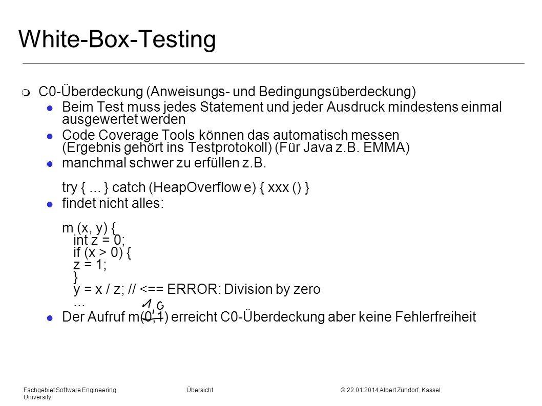White-Box-Testing C0-Überdeckung (Anweisungs- und Bedingungsüberdeckung)
