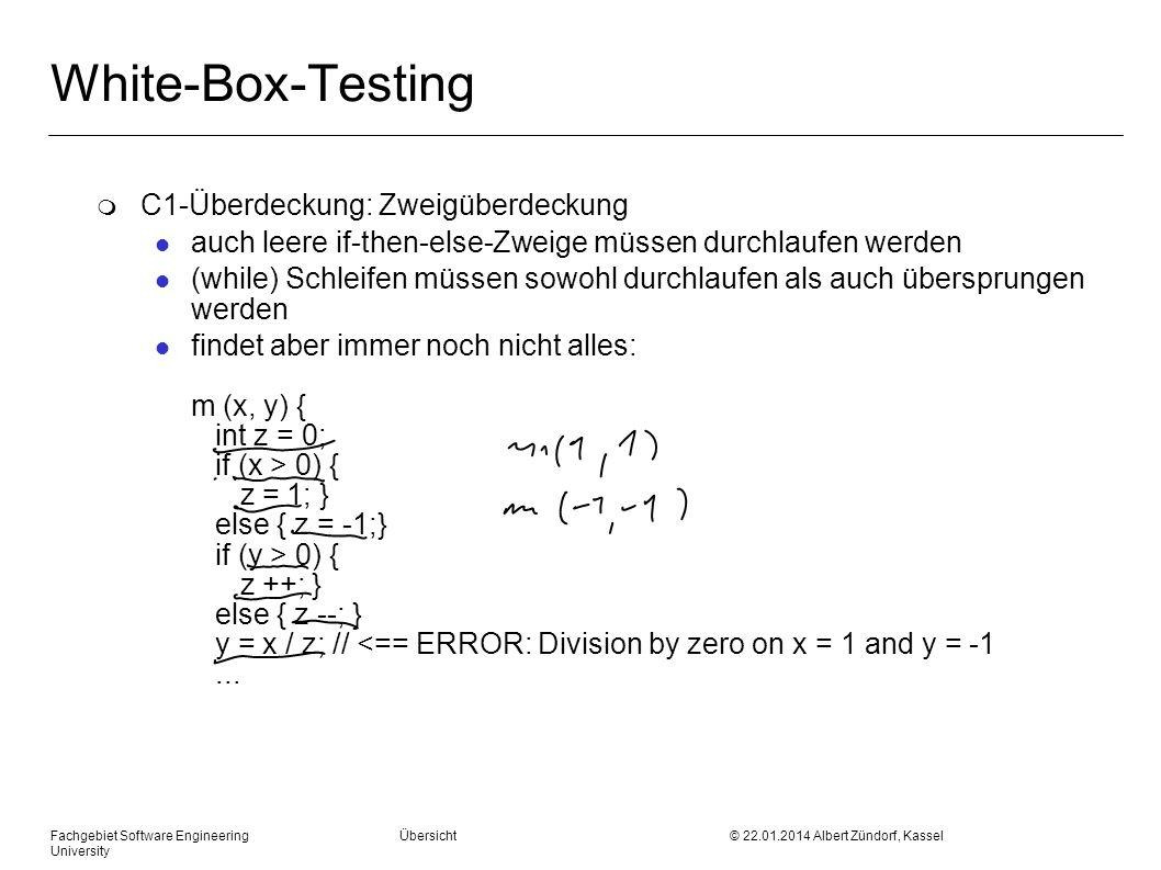 White-Box-Testing C1-Überdeckung: Zweigüberdeckung