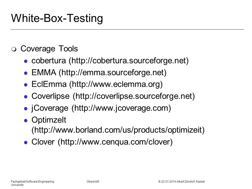 White-Box-Testing Coverage Tools