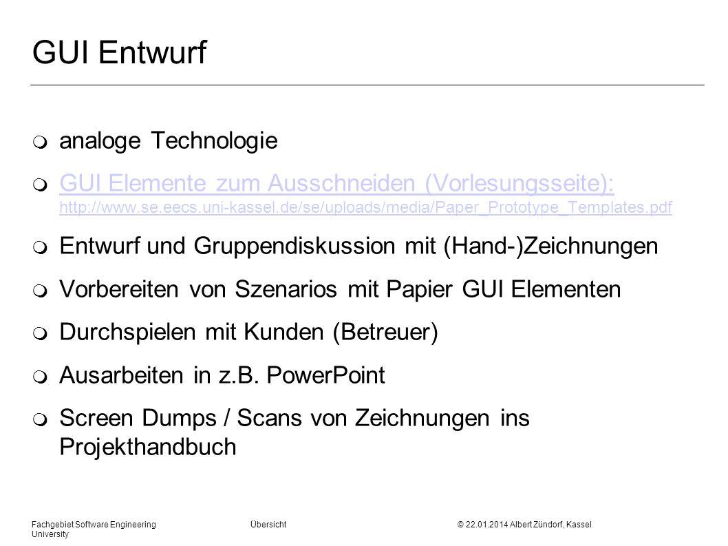 GUI Entwurf analoge Technologie