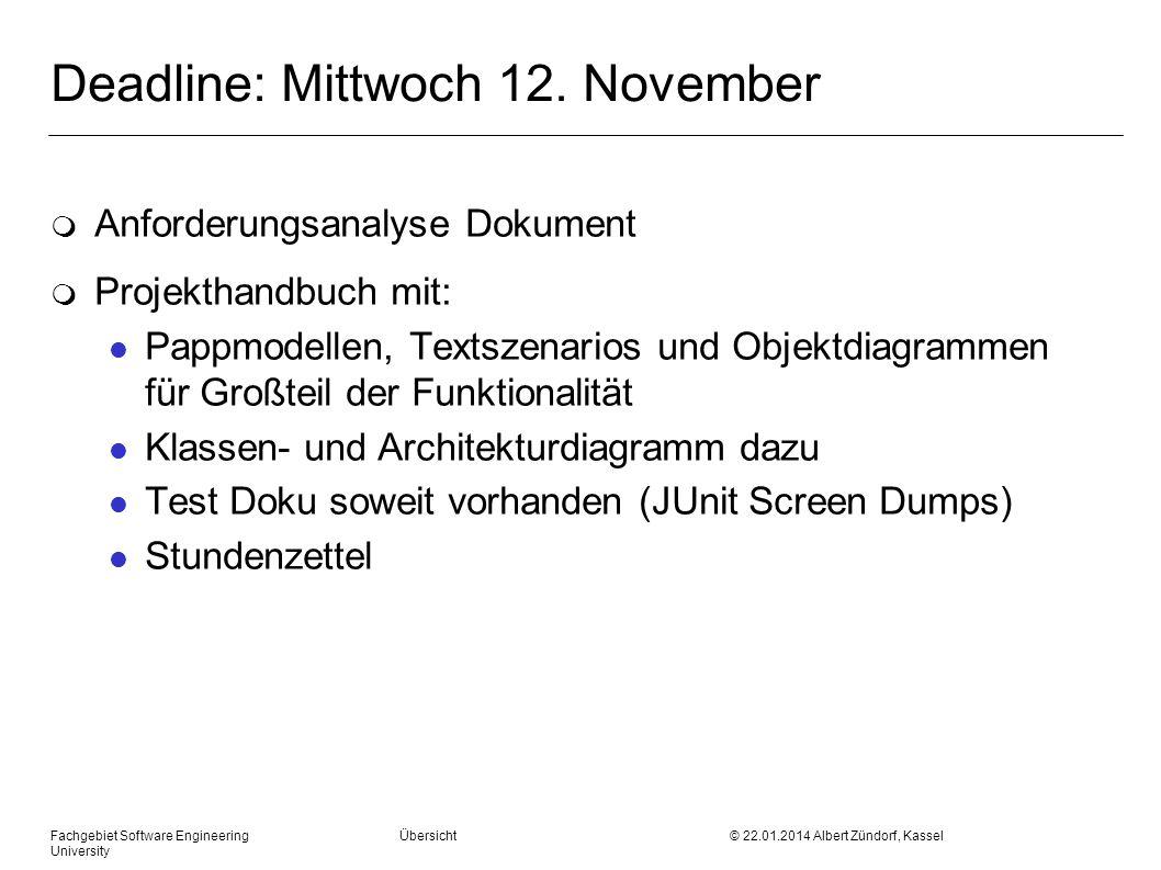 Deadline: Mittwoch 12. November