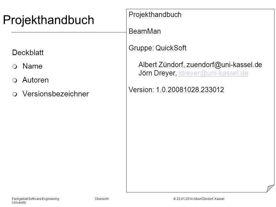 Projekthandbuch Deckblatt Name Autoren Versionsbezeichner