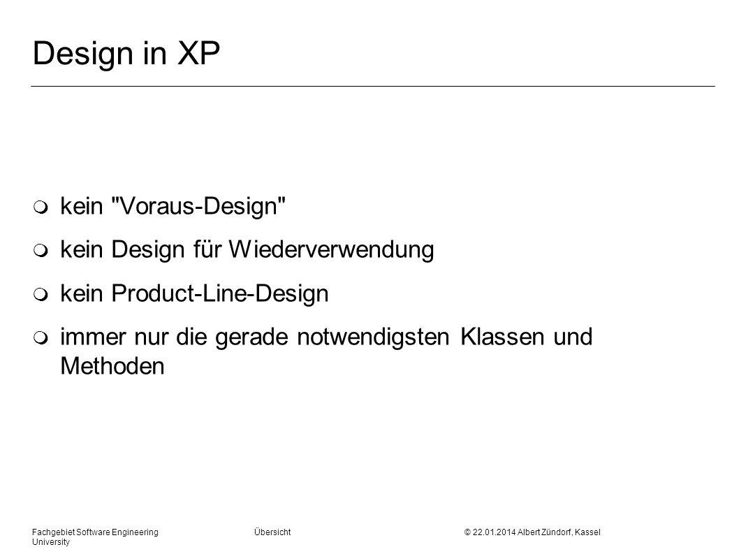 Design in XP kein Voraus-Design kein Design für Wiederverwendung