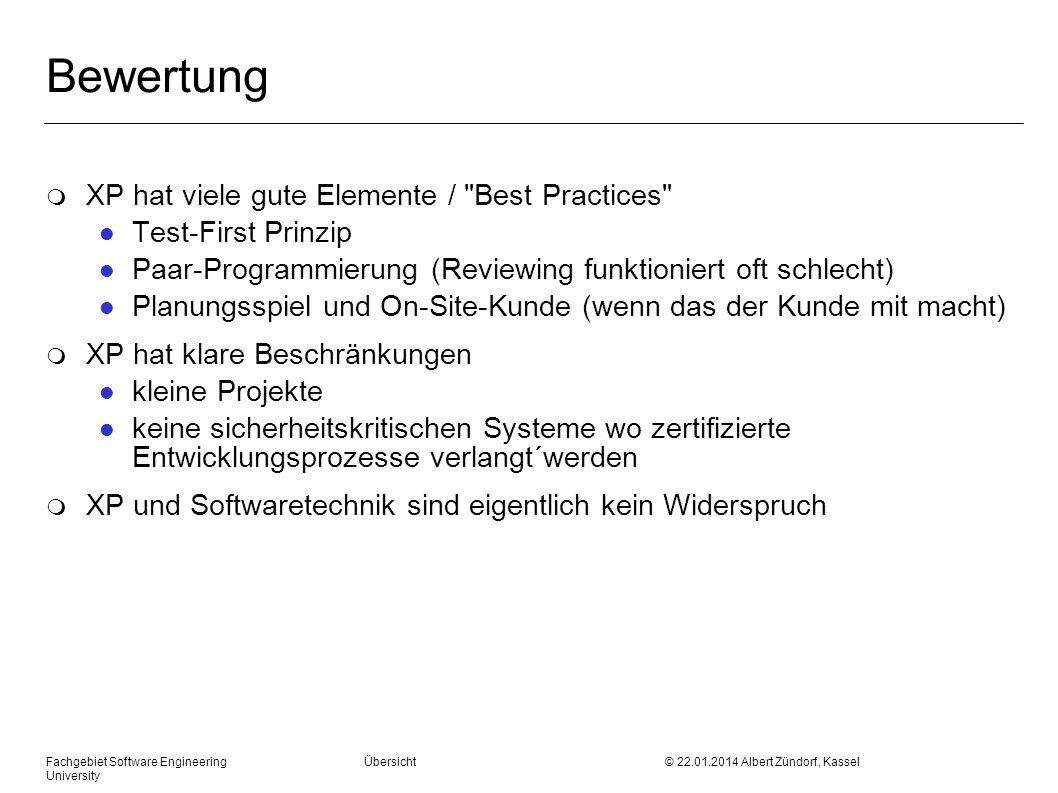 Bewertung XP hat viele gute Elemente / Best Practices