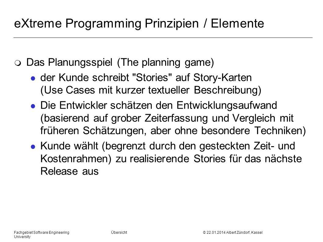 eXtreme Programming Prinzipien / Elemente