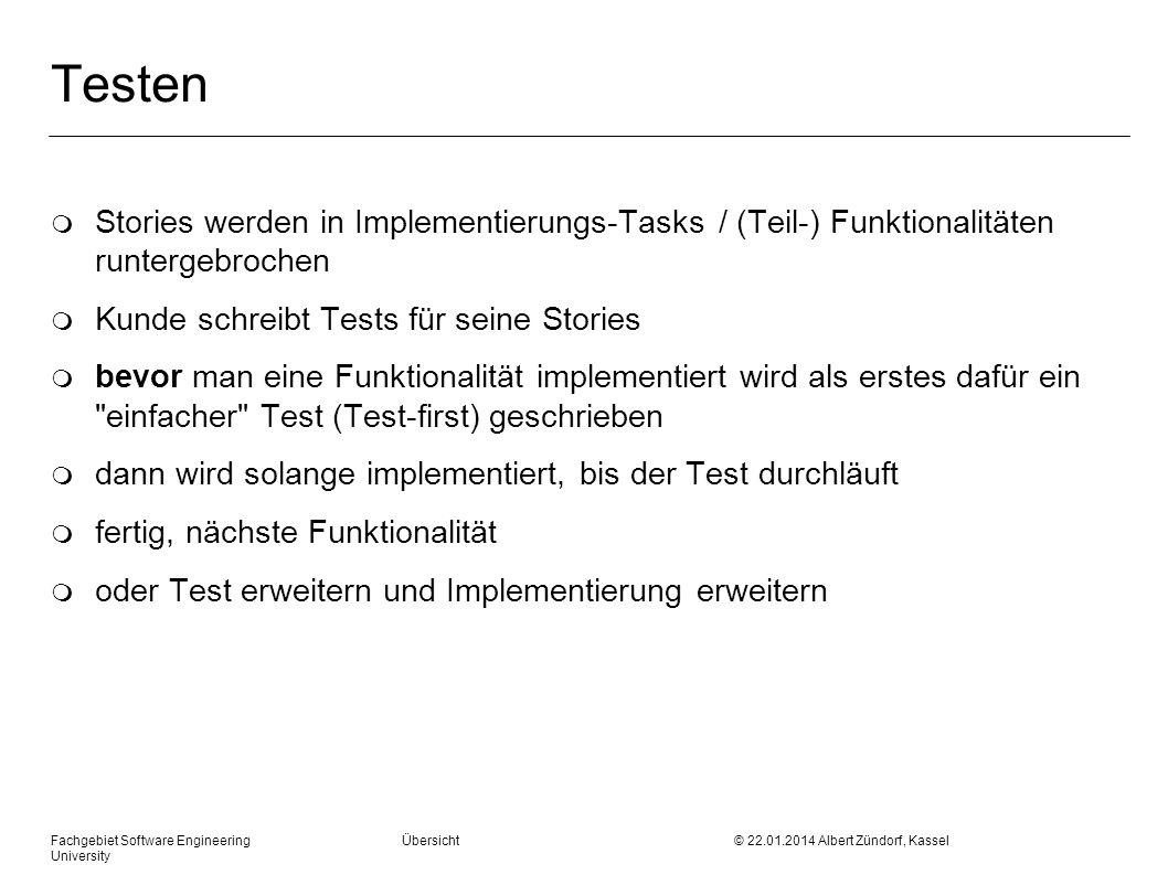 Testen Stories werden in Implementierungs-Tasks / (Teil-) Funktionalitäten runtergebrochen. Kunde schreibt Tests für seine Stories.