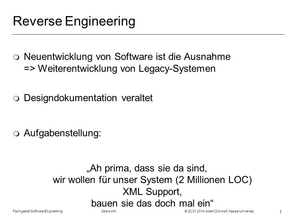 Reverse Engineering Neuentwicklung von Software ist die Ausnahme => Weiterentwicklung von Legacy-Systemen.
