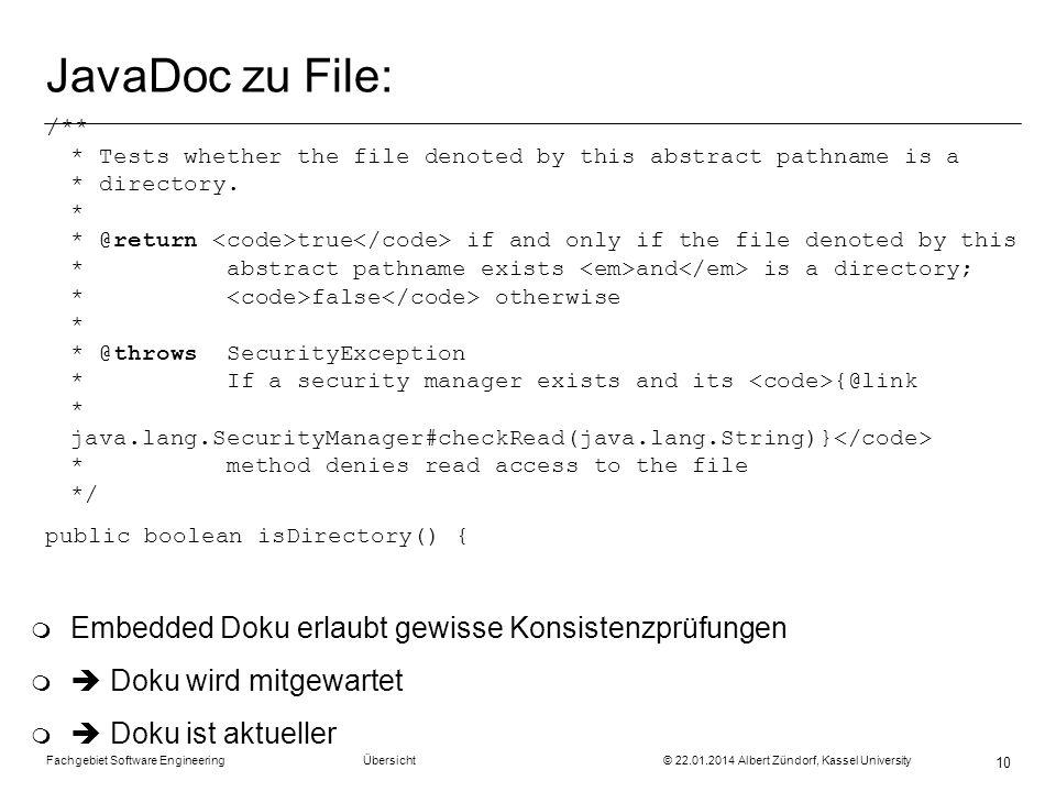 JavaDoc zu File: Embedded Doku erlaubt gewisse Konsistenzprüfungen