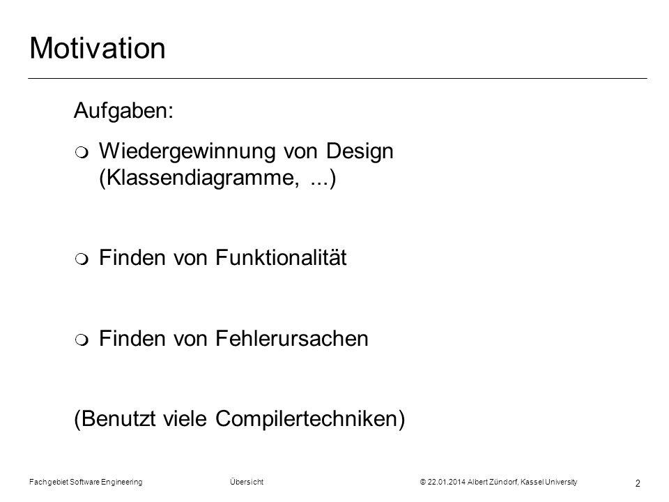Motivation Aufgaben: Wiedergewinnung von Design (Klassendiagramme, ...) Finden von Funktionalität.