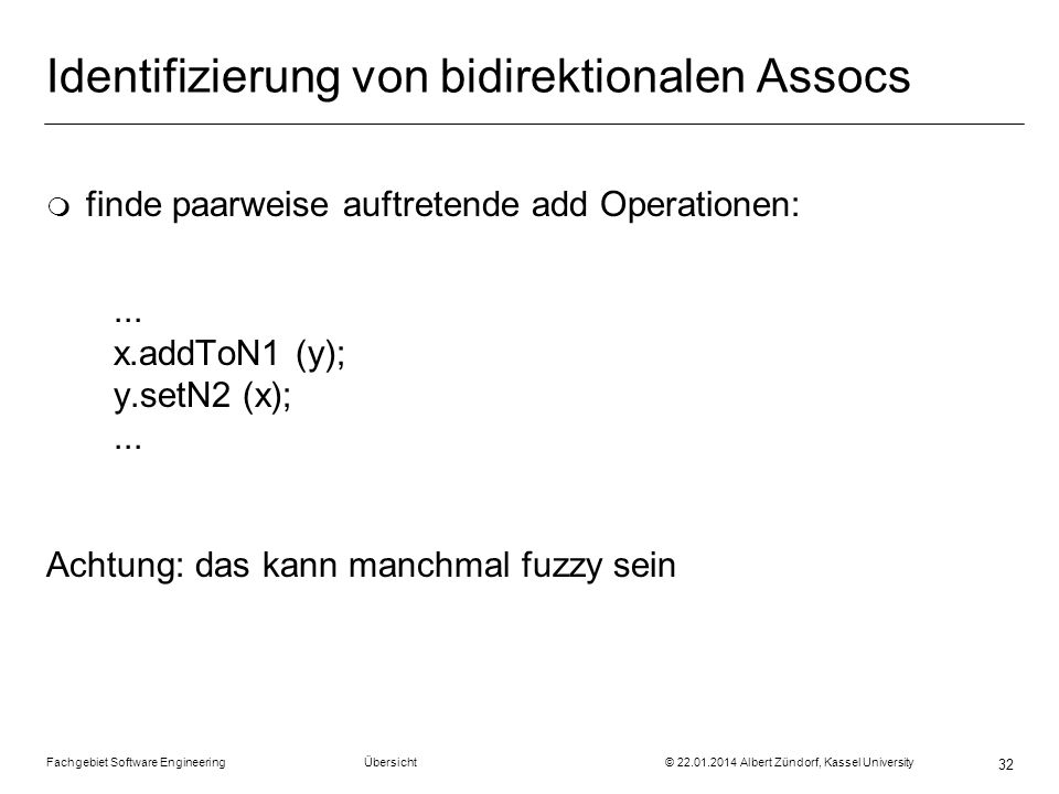 Identifizierung von bidirektionalen Assocs
