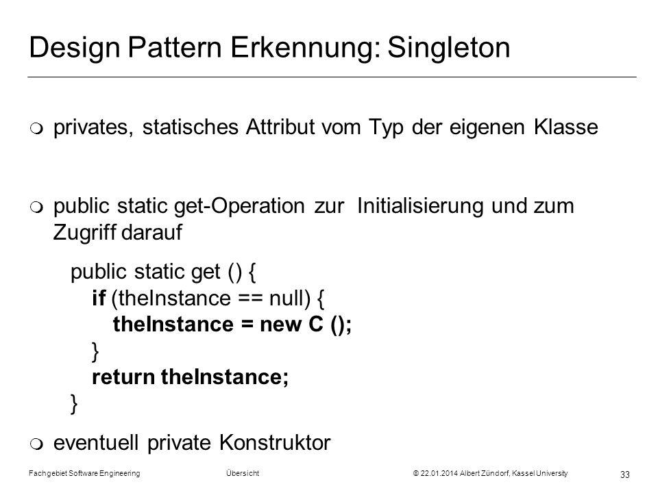 Design Pattern Erkennung: Singleton