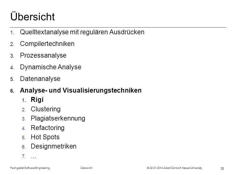 Übersicht Quelltextanalyse mit regulären Ausdrücken Compilertechniken