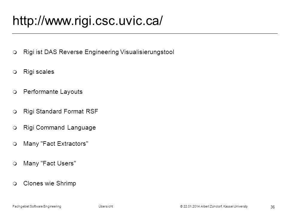 http://www.rigi.csc.uvic.ca/ Rigi ist DAS Reverse Engineering Visualisierungstool. Rigi scales. Performante Layouts.