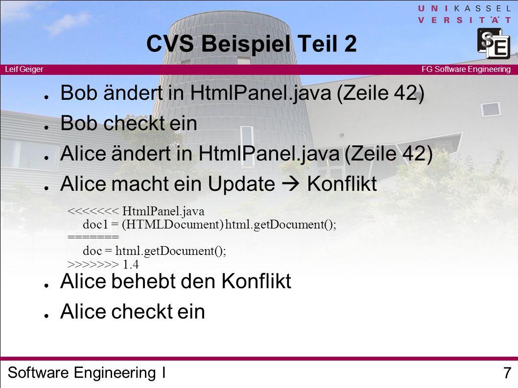 CVS Beispiel Teil 2 Bob ändert in HtmlPanel.java (Zeile 42)