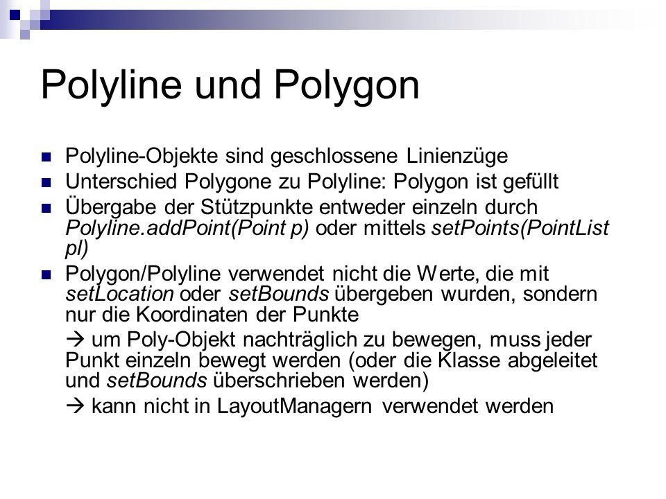 Polyline und Polygon Polyline-Objekte sind geschlossene Linienzüge