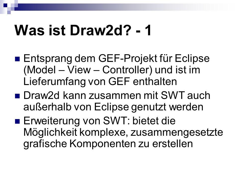 Was ist Draw2d - 1 Entsprang dem GEF-Projekt für Eclipse (Model – View – Controller) und ist im Lieferumfang von GEF enthalten.