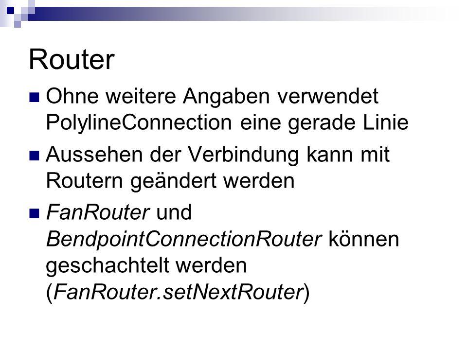 Router Ohne weitere Angaben verwendet PolylineConnection eine gerade Linie. Aussehen der Verbindung kann mit Routern geändert werden.
