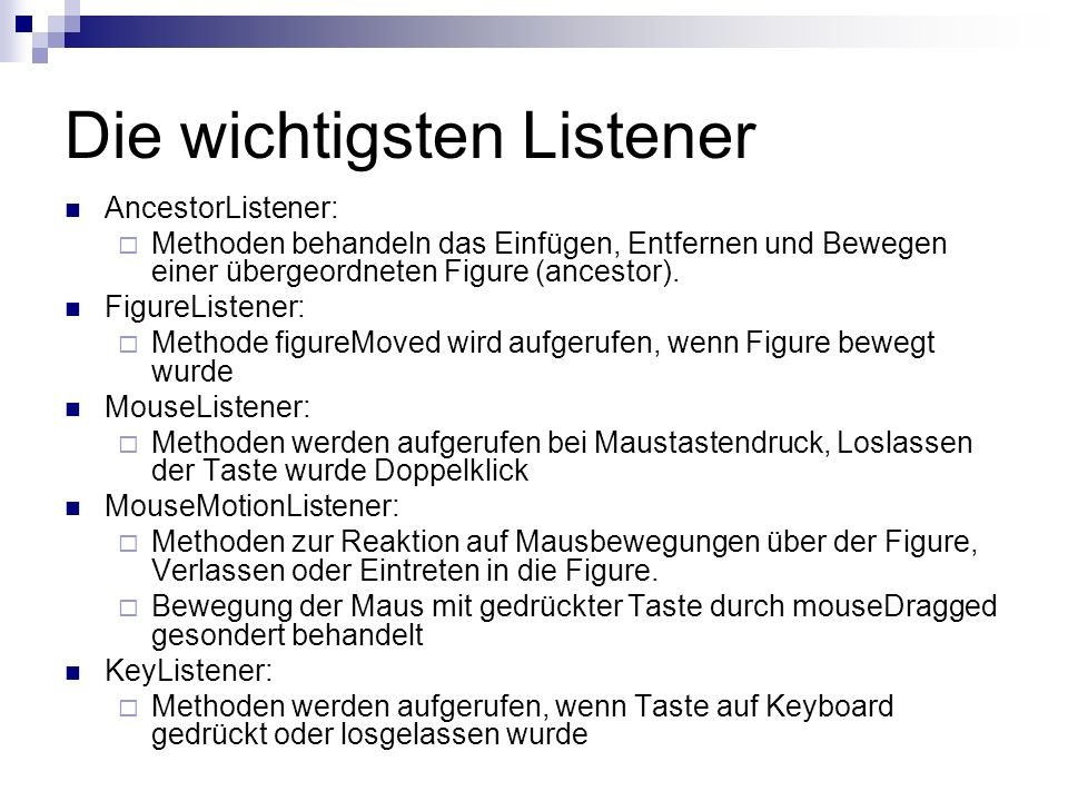 Die wichtigsten Listener