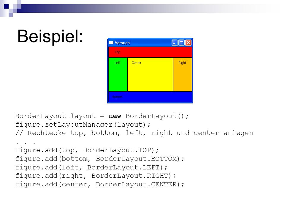 Beispiel: BorderLayout layout = new BorderLayout();