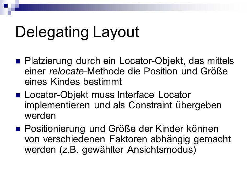 Delegating Layout Platzierung durch ein Locator-Objekt, das mittels einer relocate-Methode die Position und Größe eines Kindes bestimmt.