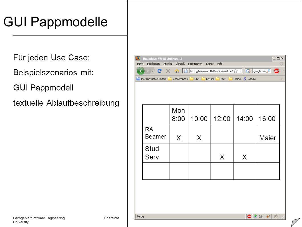 GUI Pappmodelle Für jeden Use Case: Beispielszenarios mit: