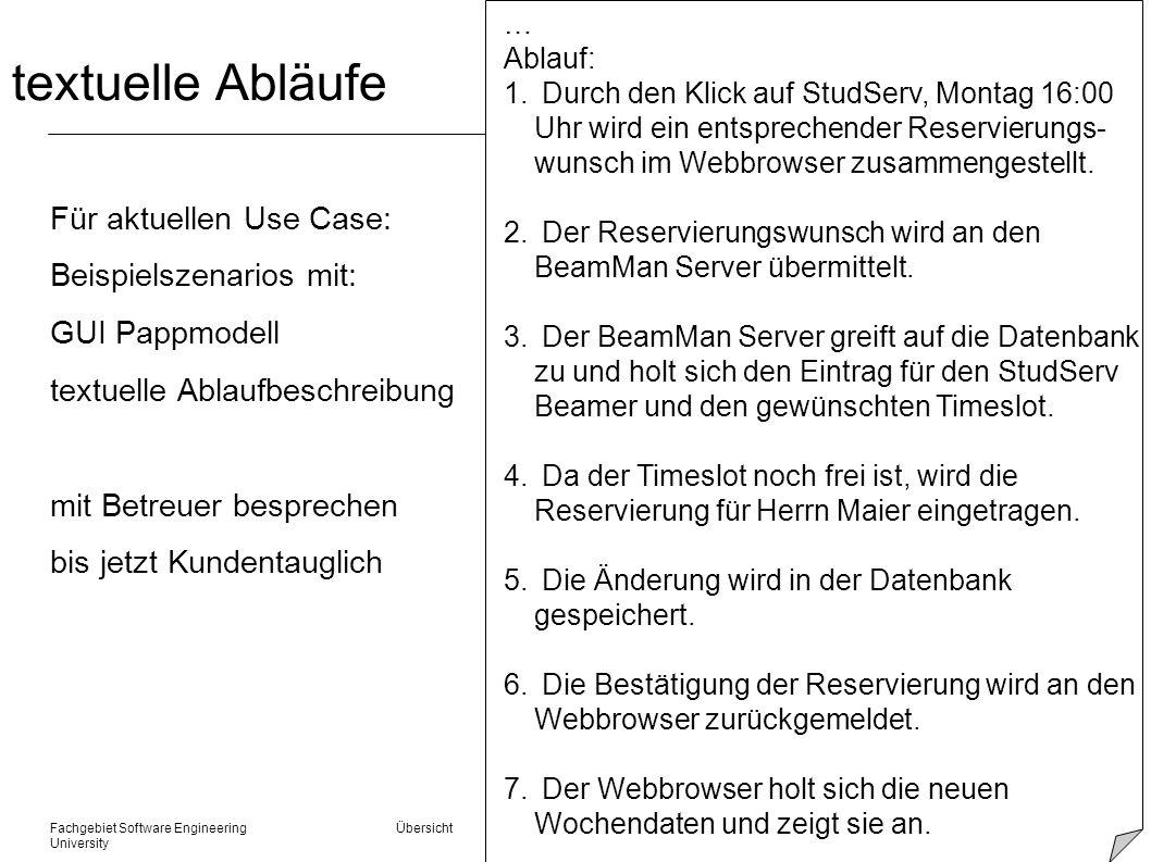 textuelle Abläufe Für aktuellen Use Case: Beispielszenarios mit: