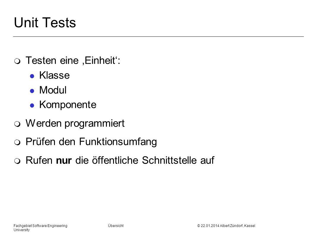 Unit Tests Testen eine 'Einheit': Klasse Modul Komponente