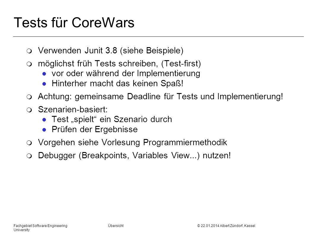 Tests für CoreWars Verwenden Junit 3.8 (siehe Beispiele)