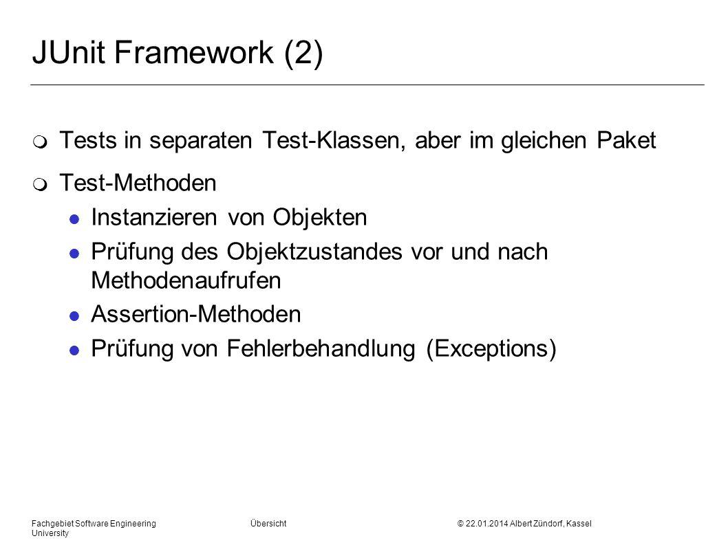 JUnit Framework (2) Tests in separaten Test-Klassen, aber im gleichen Paket. Test-Methoden. Instanzieren von Objekten.