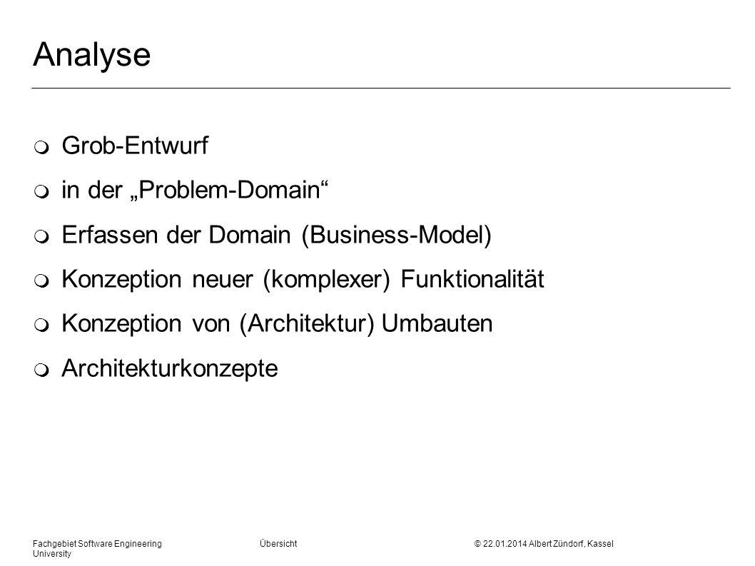 "Analyse Grob-Entwurf in der ""Problem-Domain"