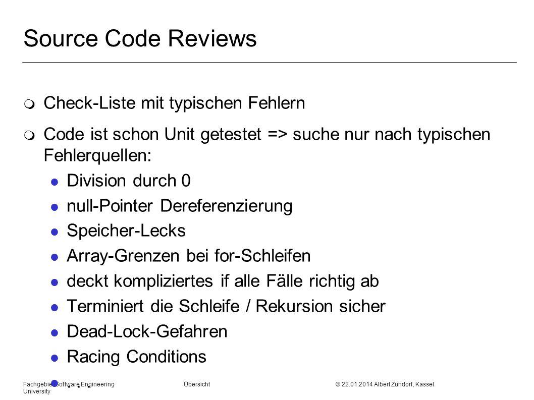 Source Code Reviews Check-Liste mit typischen Fehlern