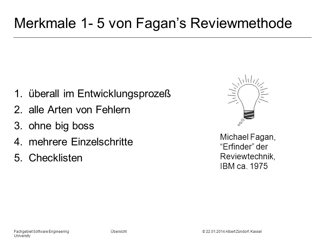 Merkmale 1- 5 von Fagan's Reviewmethode